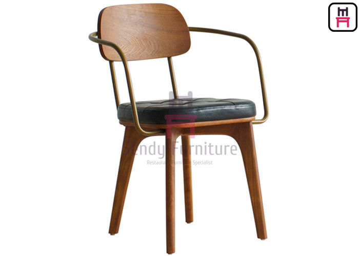 Rubber Wood Wood Restaurant Chairs No Folded With / Without Metal Armrest Armour